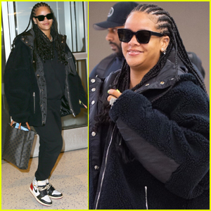 Rihanna Sports Long Braids While Arriving at JFK Airport