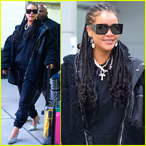 Rihanna Pairs Sweats With Sparkling Heels at JFK Airport