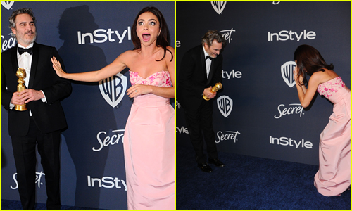 Sarah Hyland & Joaquin Phoenix Bow to Each Other After He Makes Her Starstruck at Golden Globes 2020!