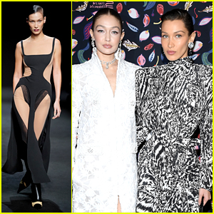 Bella Hadid Walks In Mugler & Lanvin Fashion Shows With Sister Gigi in Paris