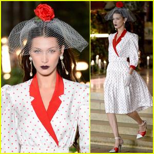 Bella Hadid Wears Veil & Dark Lipstick for Rodarte Fashion Show
