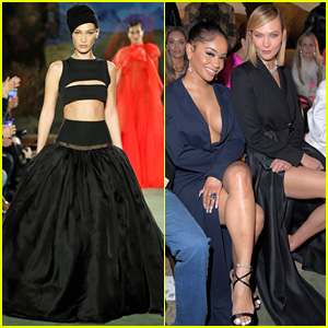 Bella Hadid, Karlie Kloss & Saweetie Attend Brandon Maxwell's NYFW Show