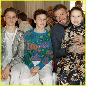 David Beckham & Kids Support Victoria Beckham at Her London Fashion Show!