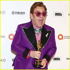 Elton John Brings His Oscar to His AIDS Foundation Viewing Party!