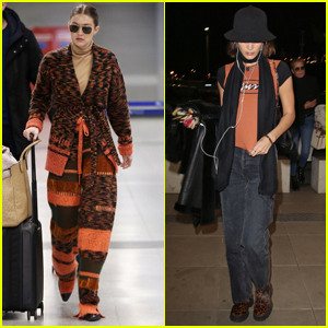 Gigi & Bella Hadid Jet Out of Milan After Fashion Week