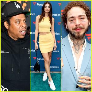 Jay-Z, Emily Ratajkowski, & Post Malone Hit Up Fanatics Pre-Super Bowl Party!
