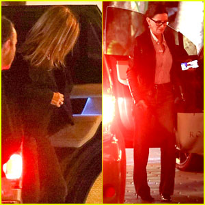 Jennifer Aniston Arrives for 51st Birthday Party with BFF Courteney Cox