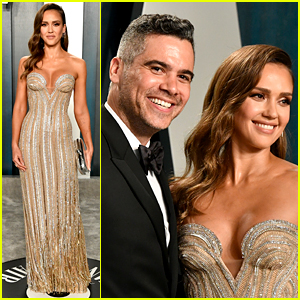 Jessica Alba Stuns in Silver & Gold Gown at Vanity Fair Oscar Party 2020