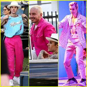 Justin Bieber Films a Music Video with J Balvin - See Set Photos!