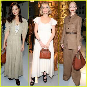 Katie Holmes, Lucy Boynton & Kate Bosworth Sit Front Row at Chloe Paris Fashion Show!