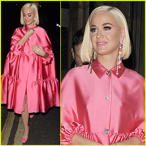 Katy Perry Wears Pretty & Puffy Pink Dress To The Theatre in London