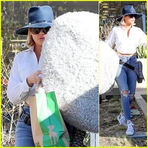 Khloe Kardashian Looks Stylish While Buying a Dog Bed