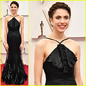 Margaret Qualley Dons Black & White Feather Gown at Oscars 2020