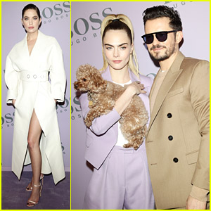 Orlando Bloom Brings Pup Mighty To Boss Fashion Show with Cara Delevingne & Ashley Benson
