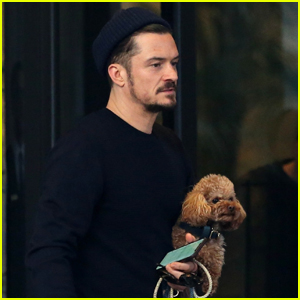 Orlando Bloom Does Some Shopping with Dog Mighty in Milan