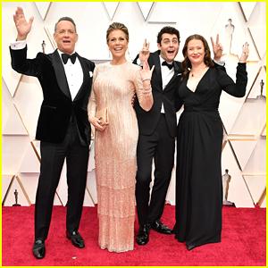 Tom Hanks & Rita Wilson's Kids Throw Up Peace Signs on Oscars 2020 Red Carpet