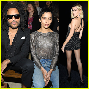 Zoe Kravitz Steps Out For Saint Laurent Fashion Show With Dad Lenny & Hailey Bieber