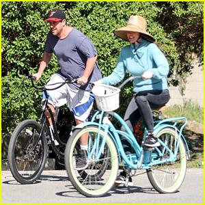 Adam Sandler Enjoys Bike Ride With Wife Jackie After Postponing Tour
