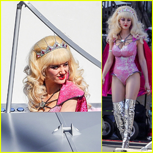 Emmy Rossum Wears a Spacesuit & Boards a Flying Saucer on 'Angelyne' Set!