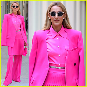 Celine Dion Wears a Skirt with Pants for Her Full Pink Look