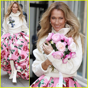 Celine Dion Throws A Bouquet of Roses To Fans in NYC