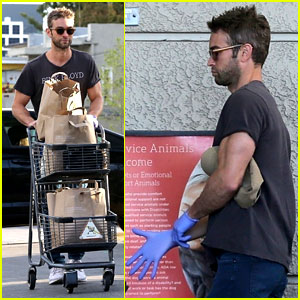 Chace Crawford Protects Himself with Latex Gloves at the Grocery Store