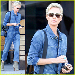 Charlize Theron Rocks Jean Jumpsuit For Lunch in LA