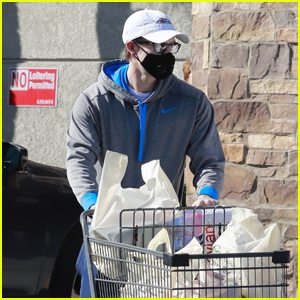 Chord Overstreet Wears Protective Mask While Food Shopping