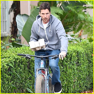 Christian Bale Balances a Tray of Coffee While Riding a Bike
