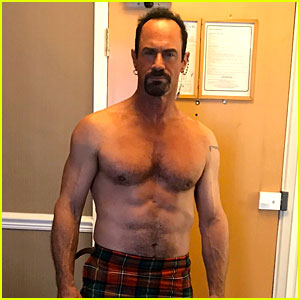Christopher Meloni Goes Shirtless in His Kilt While in Quarantine