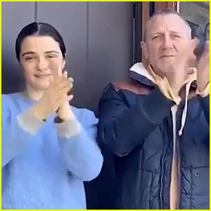 Daniel Craig & Rachel Weisz Make Rare Appearance Together to Clap for NHS Workers