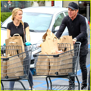 Dennis Quaid Stocks Up On Groceries with Fiancee Laura Savoie