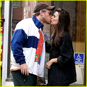 Emily Ratajkowski & Her Husband Share a Kiss After Taking Their Dog for a Walk