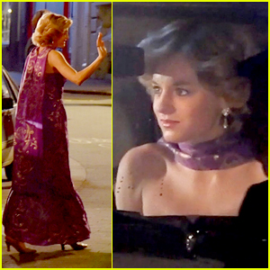 Emma Corrin Glams Up As Princess Diana While Filming 'The Crown'