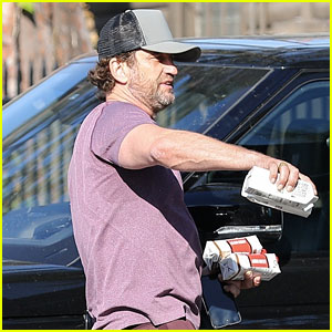 Gerard Butler Picks Up Protein Shakes During a Quick Outing