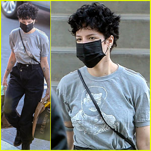 Halsey Wears a Mask While Shopping for Groceries in L.A.