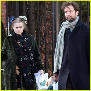 Helena Bonham Carter & Boyfriend Rye Dag Holmboe Make Rare Appearance Walking Their Dog