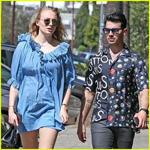 Pregnant Sophie Turner Wears Short Blue Dress Out With Joe Jonas