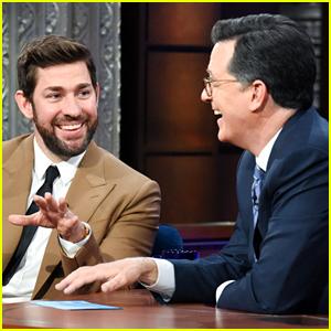 John Krasinski Hilariously Teaches Stephen Colbert a Boston Accent (Video)