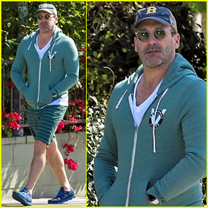 Jon Hamm Sports Green Jacket & Shorts for Lunch in Los Feliz