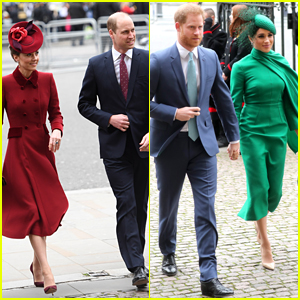 Kate Middleton, Meghan Markle & Their Husbands Reunite at Commonwealth Day Services