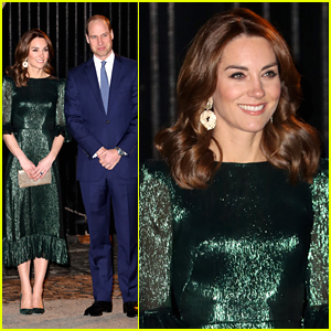 Duchess Kate Middleton Shines in Glittery Green Dress For Irish Dinner Reception