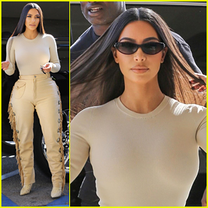 Kim Kardashian Wears Cute Fringe Pants While Arriving For Business Meeting
