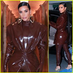 Kim Kardashian Turns Heads in a Latex Outfit During Paris Fashion Week
