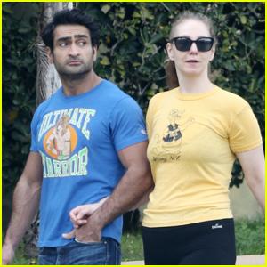 Kumail Nanjiani & Wife Emily V. Gordan Enjoy Some Fresh Air in L.A.