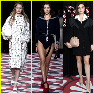 Lucy Hale Supports Gigi & Bella Hadid at Miu Miu's Paris Fashion Week Show