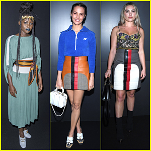 Lupita Nyong'o Wears Bold Blue Lipstick For Louis Vuitton Fashion Show in Paris