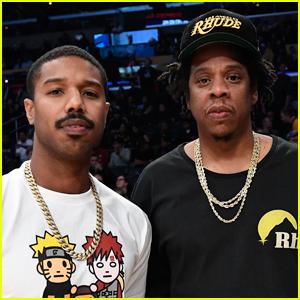Michael B. Jordan Hangs Out with Jay-Z at Lakers Game