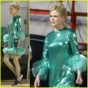 Nicole Kidman Wears a Sparkly Green Dress with Sneakers on 'The Prom' Set