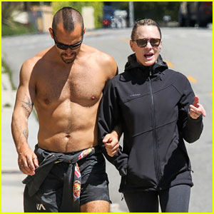 Robin Wright's Husband Clement Giraudet Shows Off His Hot Body During Their Friday Stroll